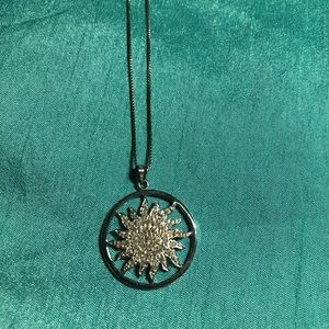 Sterling Silver Diamond Sunburst  Pendant Necklace